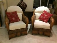 Quality cane furniture for conservatory, cream cushions, two chairs, sofa & footstool