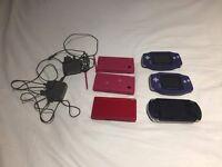 Sony PSP, Nintendo Gameboy Advance x2, Nintendo DSI x2, Nintendo DS consoles