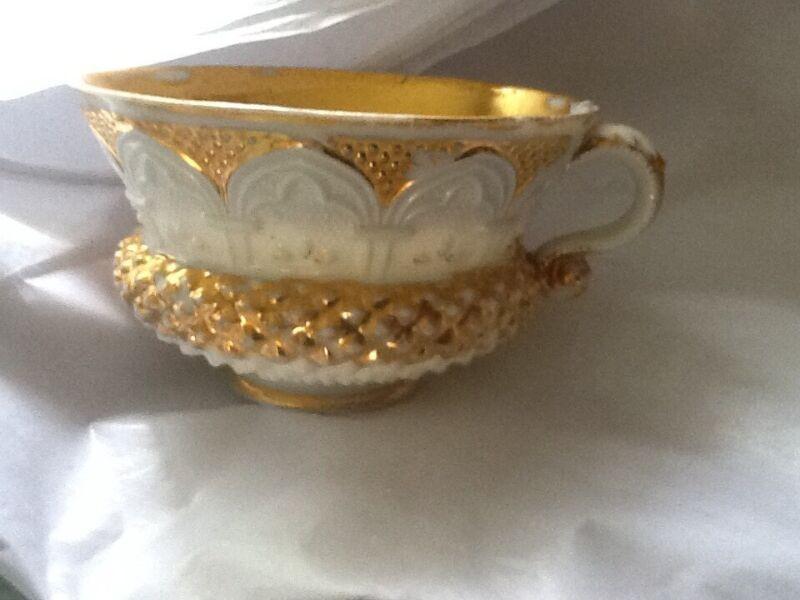 Vintage Meissen Gold Trim / White Cup Popcorn Design Very Rare