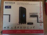 Dual Band Netgear Modem Router ADSL2+ Rangemax DGND3300v2 + N600 Dual Band Adapter