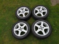 Wolfrace Excite R4 15inch; 4x100 Alloy Wheels and Uniroyal Tyres with 5-6mm