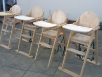 Solid wood Highchairs with swing-over tray/table-all used in good condition-I have 3 left-£30 each