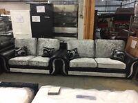 Rio 3&2 crushed velvet sofas