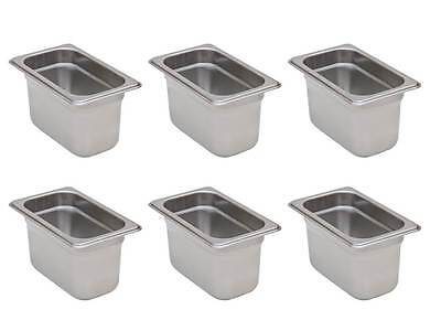 6-Pack 1/9 Size Stainless Steel Silver Steam Table / Hotel Pans - 4