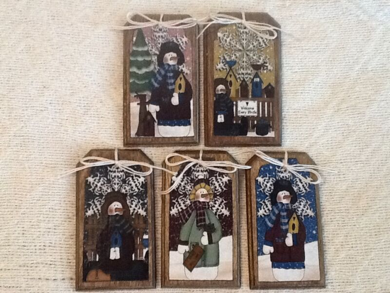 5 COUNTRY SNOWMAN Ornaments/Hang Tags/GiftTags HANDCRAFTED CHRISTMAS SETg