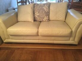 3 and 2 seater Cream Leather Pillow back Sofas