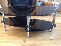 Black glass coffee table