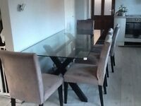 Next Glass Dining table and 6 grey chairs