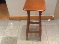 Solid wood sturdy barstool in hazlelnut shade-73cm in height and 30cm across square seat-to clear £5