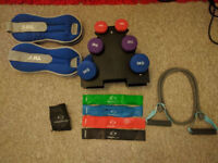 Gym equipment dumbell, resistance band, pull up bar, ankle weights, mat