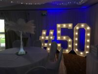 Hire our 5ft LED Light up 'Numbers'