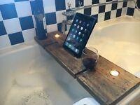 New Reclaimed wood bath caddy / wine holder