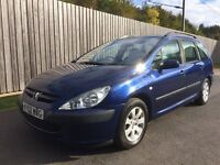 Peugeot 307 SW Estate 2.0 HDI Turbo Diesel Low Miles 90,000 12 Months MOT not astra 407 c5 touring