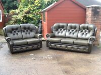 Leather chesterfield style suite 3 seater and 2 seater antique green leather CAN DELIVER FREE LOCAL