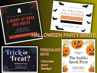 Halloween Party Invitation Designs (Personalised HALLOWEEN PARTY Invitations/Invite inc Envelopes - Choose)