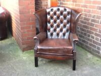 ANTIQUE BROWN LEATHER CHESTERFIELD QUEEN ANNE CHAIR HIGH BACK WING BACK CAN DELIVER £275