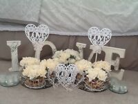 Romantic Ivory Tea Party Theme Wedding Table Accessories. Immaculate Condition.
