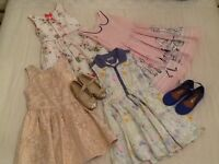 Girls dresses and shoes - age 7-8