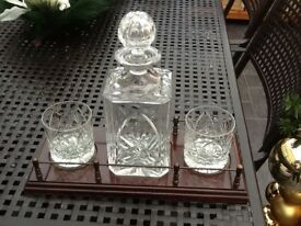 Decanter and 2 Cut Glass Glasses