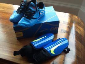 Adidas boys Astra turf football boots messi and Nike shin guards