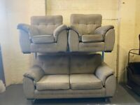 HARVEYS GREY FABRIC 3 PIECE SOFA SET NICE CONDITION 3-1-1 SEATER + FREE DELIVERY