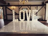 Hire our Starlight dance floor and Giant Light up letters for only £575