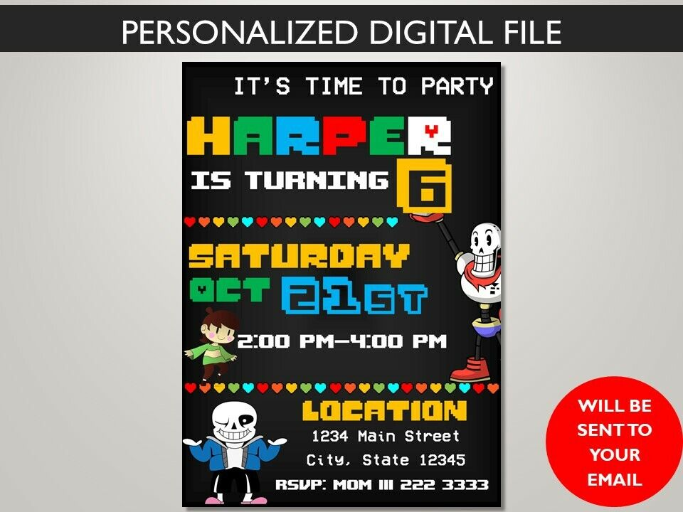 Undertale Printable Invitation Or Digital Delivery Adaptable To Screen - Party - $6.99