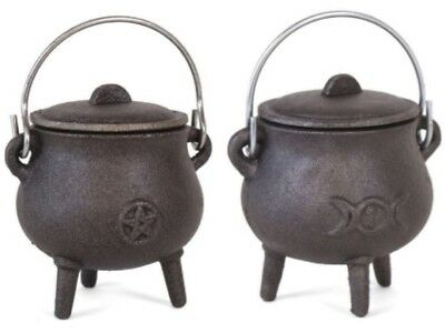 Cast Iron11cm cauldron Triple Moon & Pentagram Witch Spell Wicca HALLOWEEN - Witch Spells Halloween