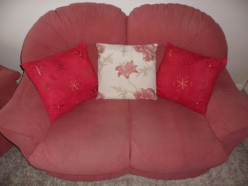 FREE - Two Large Dusky Pink Settees, One 3 Seater & One 2 Seater