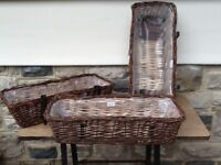 Lined Wicker Trough Planters with metal hanging brackets.NEW.£8 each
