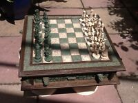 "Malachite cream and green chess set 20"" by 20"""
