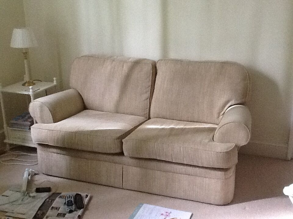 large two seater beige sofa in sevenoaks kent gumtree. Black Bedroom Furniture Sets. Home Design Ideas