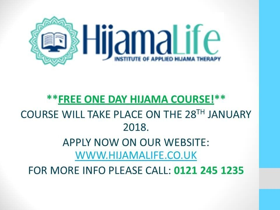 FREE HIJAMA CUPPING THERAPY COURSE ON THE 28TH