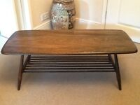 Ercol low level coffee table with magazine rack below dark wood good condition well looked after