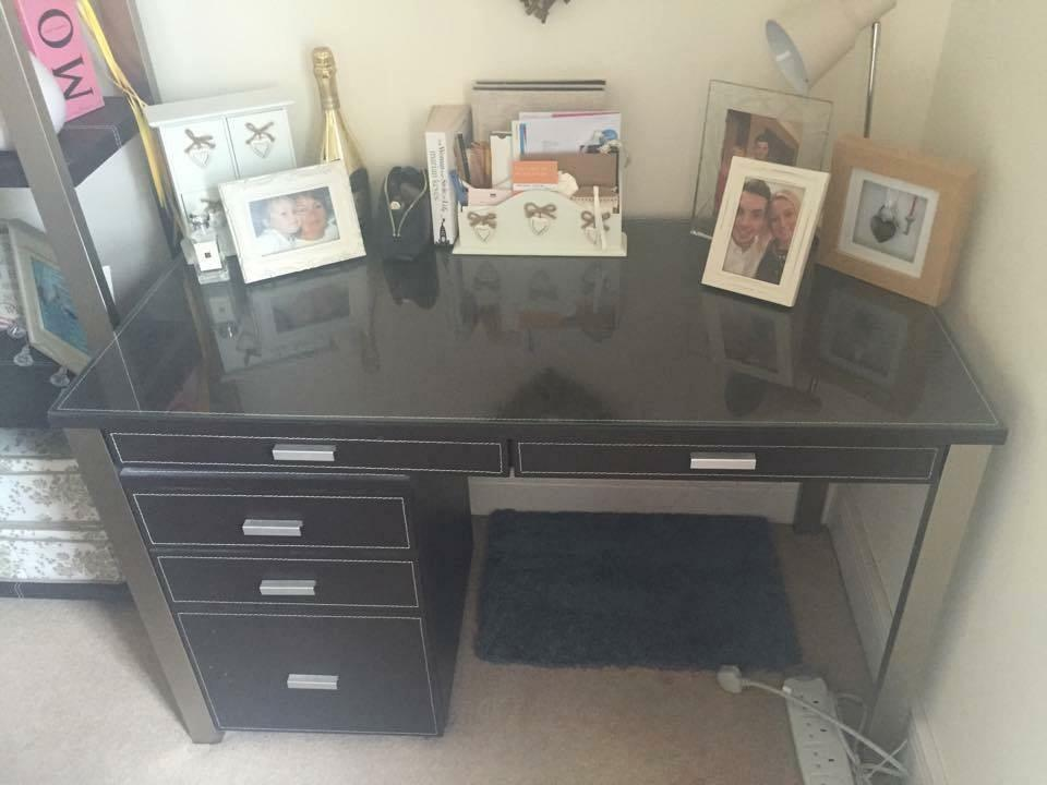 John Lewis 'Chicago' Brown Faux Leather Office Desk and ...