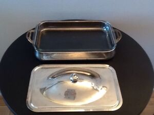 Rectangular Pyrex Dish With Silver-Plated Lid And Tray