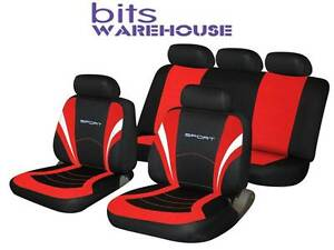 Fiat Punto SPORTS Fabric Car Seat Covers Full Set in BLACK & RED