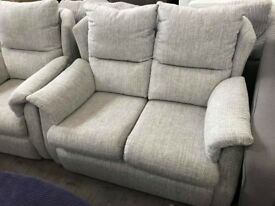 DFS 2 seater grey fabric sofa with matching armchair