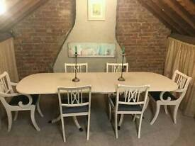 Shabby chic table and 6-8 chairs