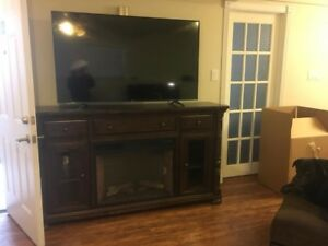 "60"" tv with oak fireplace stand"