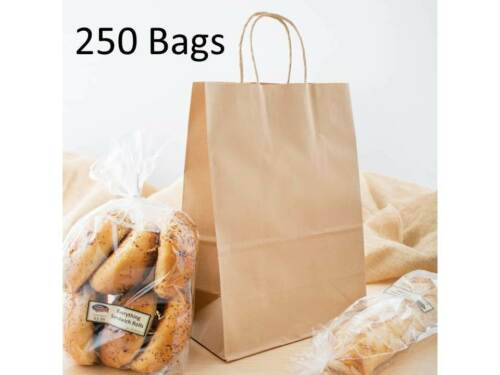 """250 Natural Brown Kraft Paper Shopping Bags with Handle, 10"""" x 5 1/2"""" x 13 1/4"""""""