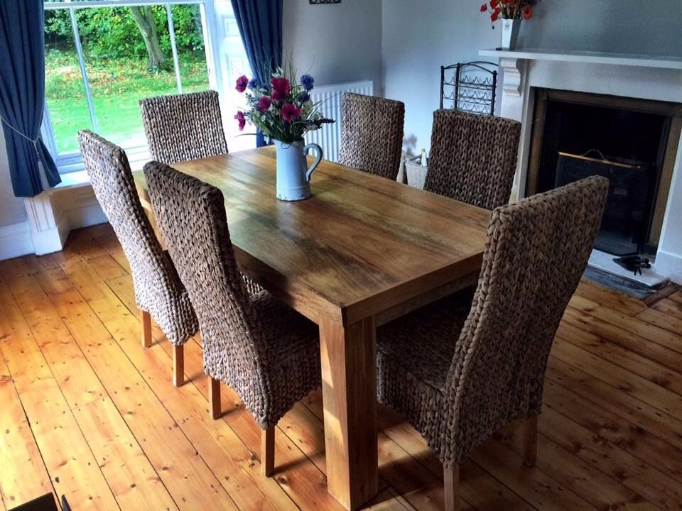 Solid Mango Wood 6 Dining Table And High Back Grass Chairs