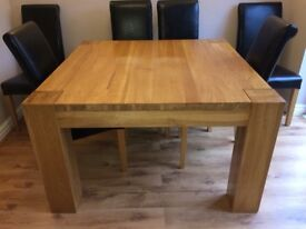 Large Solid Wood Square Dining Table