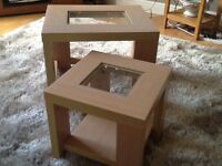 Oak and glass side tables