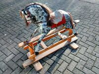 Vintage Rocking Horse with Genuine Horsehair and Glass Eyes