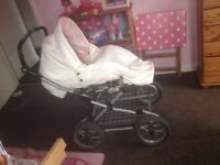 Limited addition, Babystyle leatherette pram, pink an white, suitable from birth up to age of 3