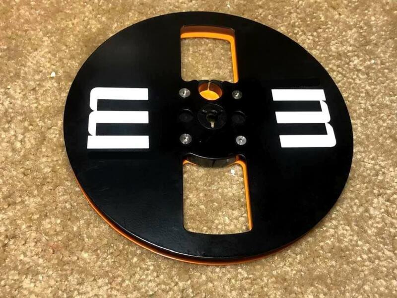 "Custom made  Metal Take up Reel to Reel .7"" x 1/4"".Two tone color( Black/Orange)"