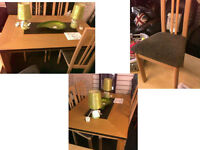 Lovely modern dining table with 4 chairs 47 inches long x 31.5 wide DETAILS BELOW