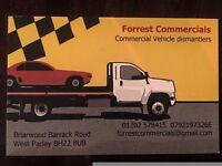 Forrest commercials vehicle dismantlers