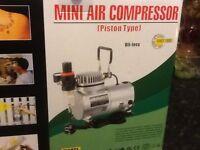 Mini air compressor and air brushes